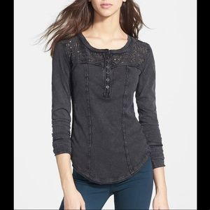 Free People Gold Coast Lace Henley Thermal Shirt